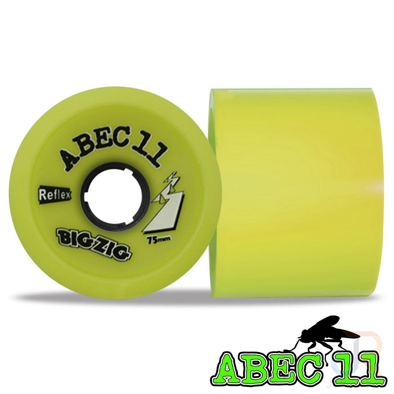 4 Wheels ABEC 11 Reflex BigZig Lemon 83A 75mm Longboard Wheels Set