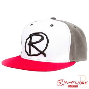 Rampworx SnapBacks LE97_10 - Grey White Red - Angled - RXSBRW43