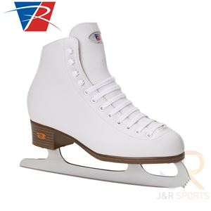 Riedell Ice Skates White Ribbon 112 Angled View